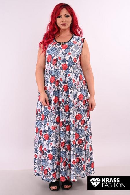 Разкроена макси рокля Сиви рози