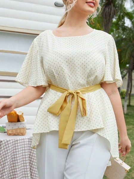 Елегантна макси блуза с коланче