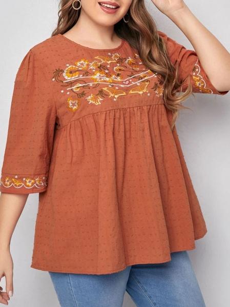 Блуза в цвят брик с бродерия