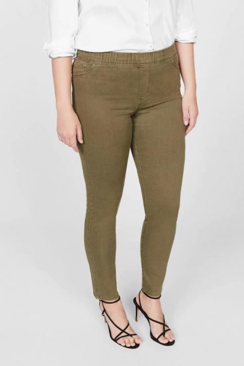 Макси дънки в зелен цвят с ластик