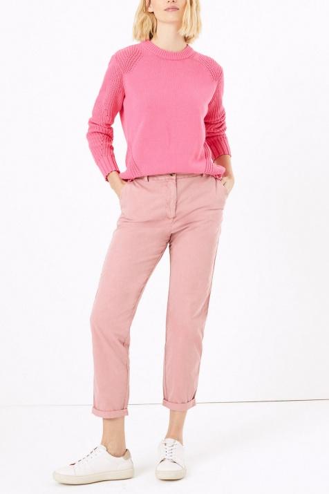 Спортно-елегантен панталон в цвят пудра