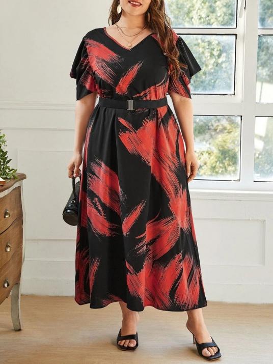 Лятна макси рокля в стилен десен