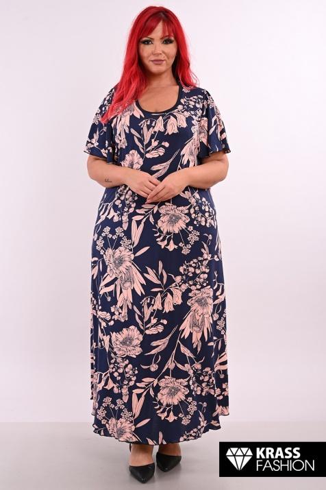 Дълга рокля на цветя в големи размери