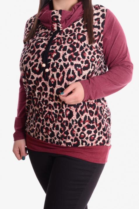 Дамска блуза  в принт бордо 3XL снимка 1