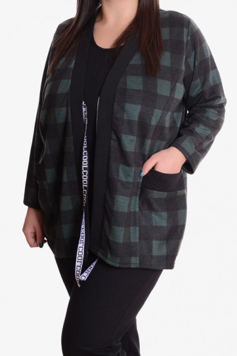 Дамска макси блуза интересен модел на зелено каре 3XL снимка 1