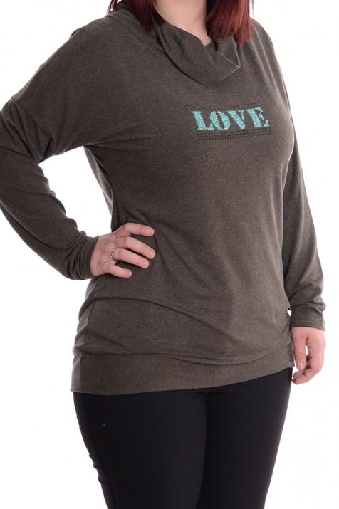 Дамска макси блуза в зелен цвят снимка 1