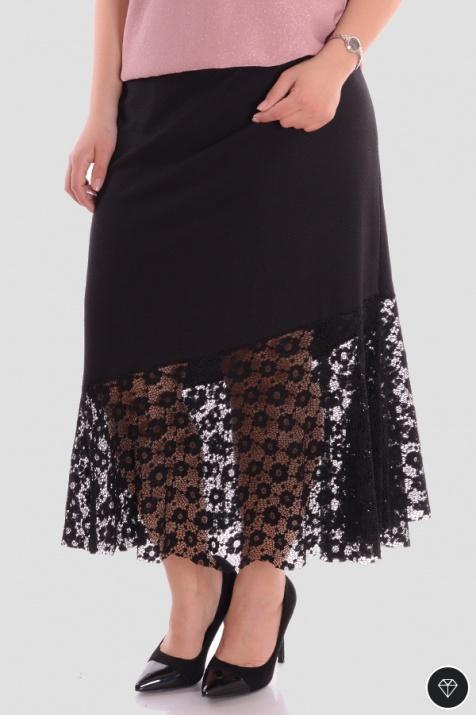 Дамска макси пола с ластик в черен цвят с дантела снимка 2