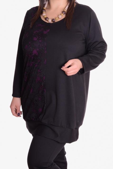 Дамска туника с дантела в черно и лилаво 4XL снимка 1