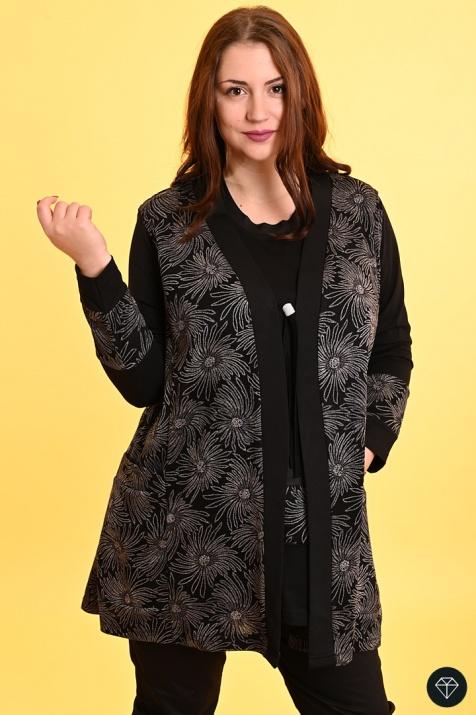Дамски комплект с елек и туника в черно на маргарити снимка 1