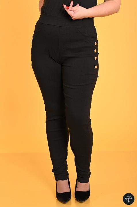 Еластичен макси панталон тип клин в Черно снимка 1