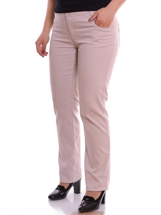 Елегантен макси панталон бежов десен снимка 1