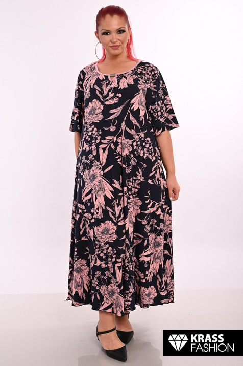 Флорална лятна рокля в големи размери