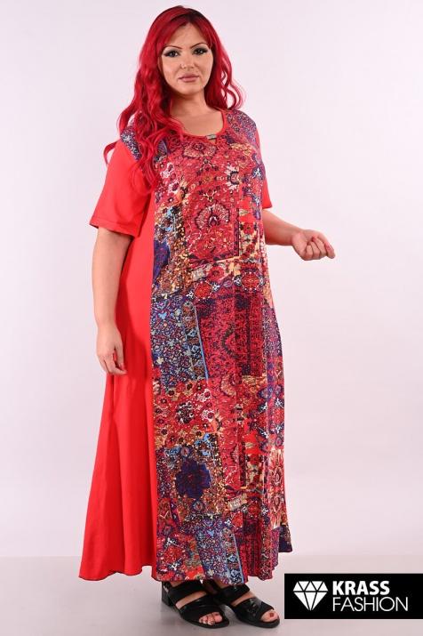 Макси рокля в червени тонове