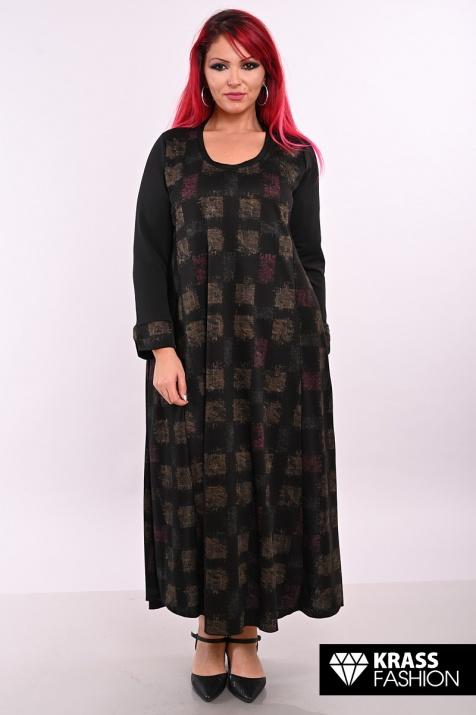 Дълга рокля в тъмен десен големи размери