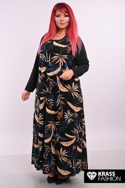 Дамска разкроена рокля на цветни листа