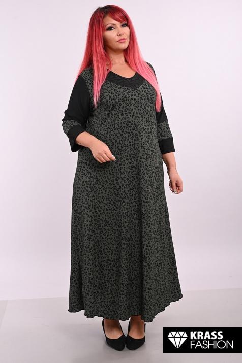Разкроена макси рокля в зелена шарка