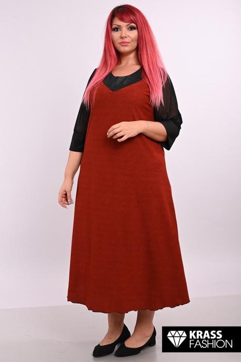 Дълга рокля в цвят брик