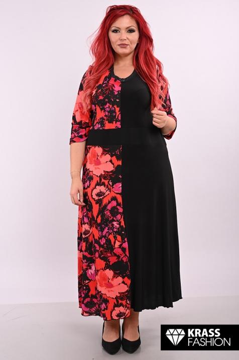 Стилна рокля в двуцветна комбинация