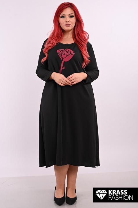 Черна рокля с роза бордо