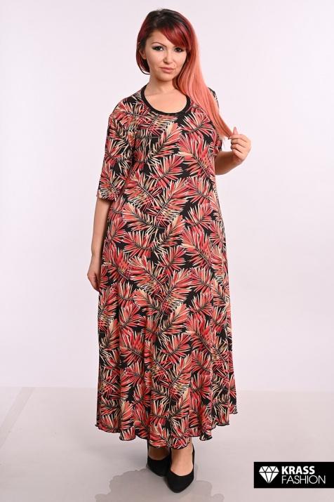 Дълга макси рокля в щампа на палмови листа