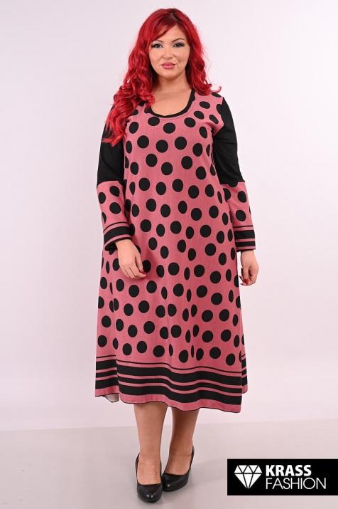 Макси рокля на точки в пудра цвят