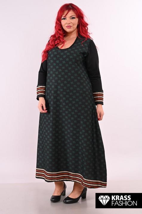 Дълга есенна рокля на ромбове