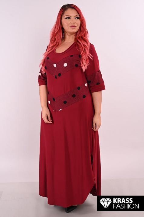 Бордо рокля с цветен акцент