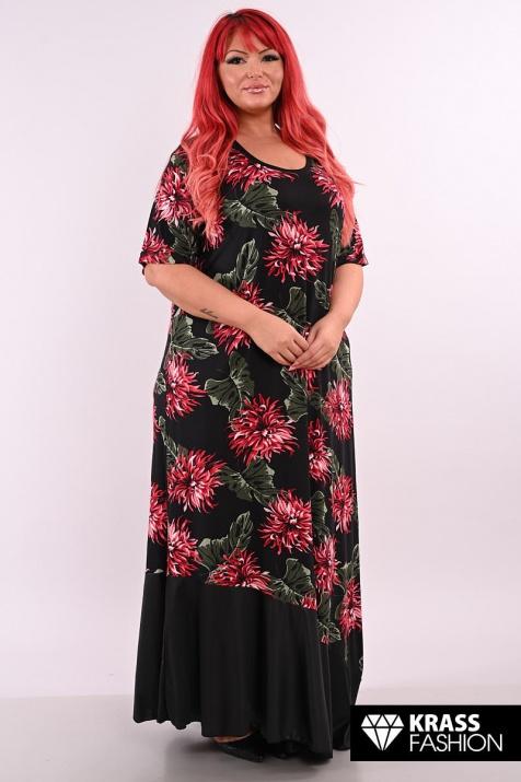Дълга макси рокля на бордо цветя
