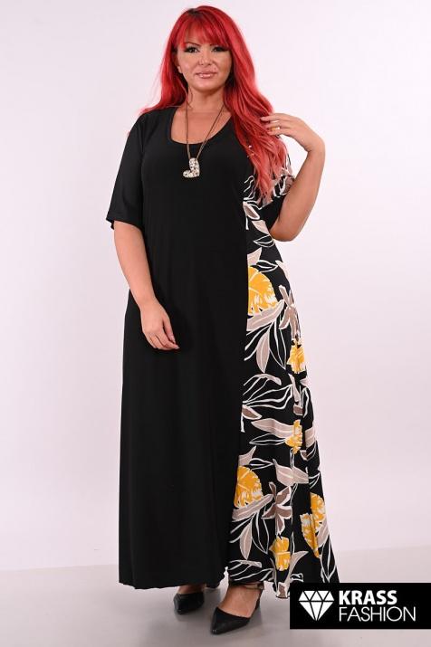 Дълга черна рокля с цветен акцент