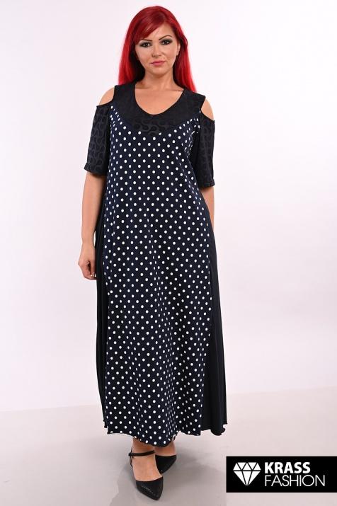 Дълга разкроена макси рокля на сини точки