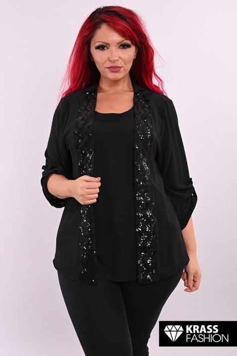 Черна блуза 2 в 1 от шифон