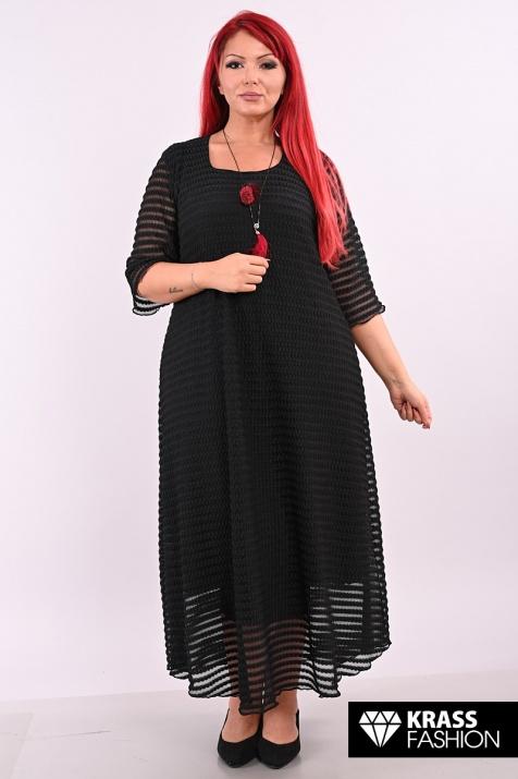 Черна елегантна рокля от ефектен тюл