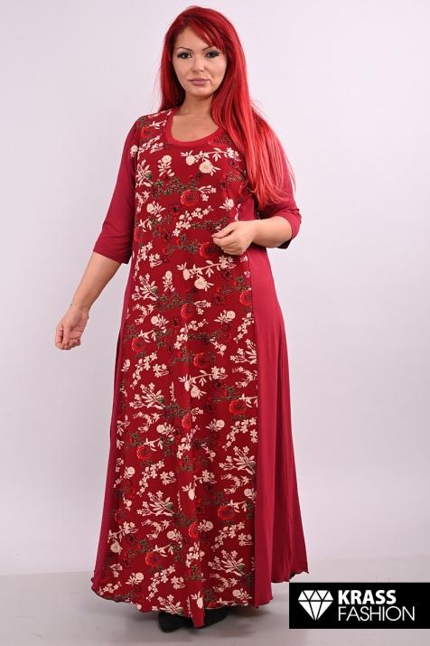 Дълга рокля в десен  бордо на цветя