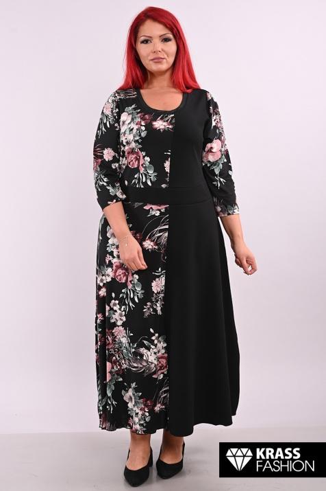 Дълга рокля в тъмен десен на цветя