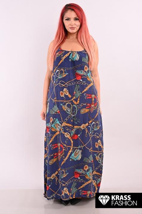 Синя дълга рокля с презрамки