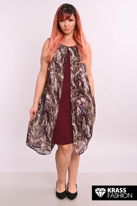 Ефирна рокля с шифон в бордо