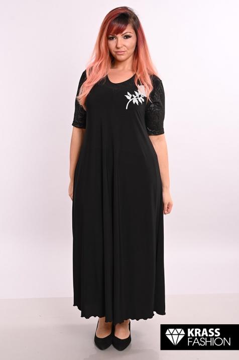 Разкроена черна макси рокля с роза