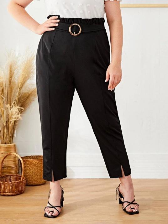 Еластичен черен панталон с декоративно коланче