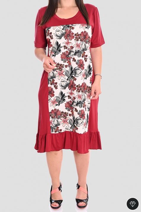 Лятна макси рокля в бордо 4XL снимка 1