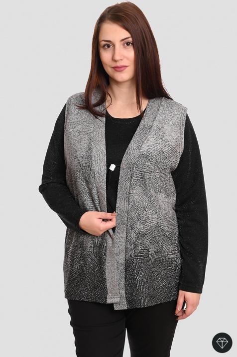 Макси комплект от блуза и елек Силвър снимка 2