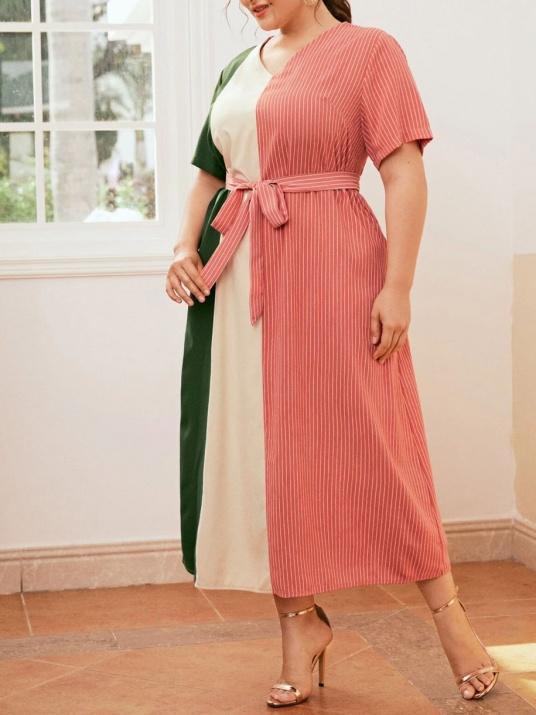 Трицветна женствена макси рокля