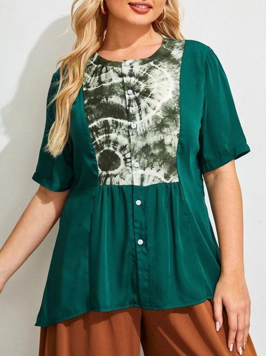 Елегантана зелена блуза сатениран памук