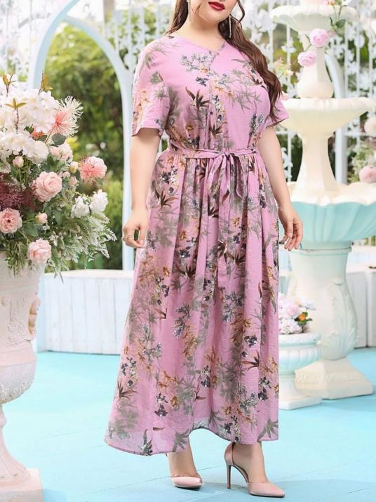 Памучна дамска рокля в нежен цвят