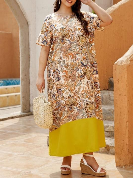 Лятна рокля в свеж десен  големи размери