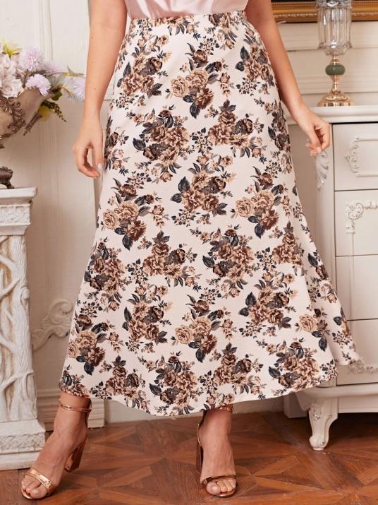 Прекрасна флорална макси пола с ластик