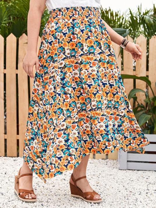 Ефирна многоцветна пола с ластик