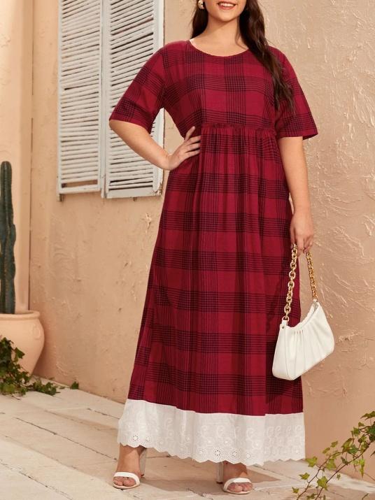 Макси рокля  в бордо каре