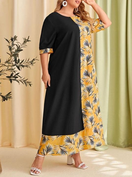 Двуцветна стилна макси рокля