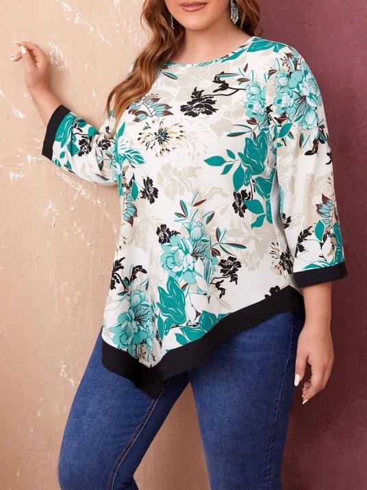 Блуза на цветя с асиметрична дължина