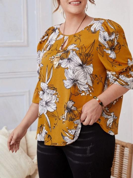 Макси блуза в цвят горчица